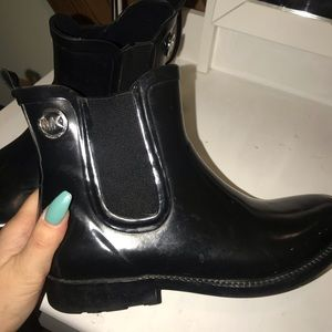 Micheal Kors Black ankle rain boots